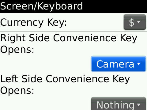 convenience key Blackberry