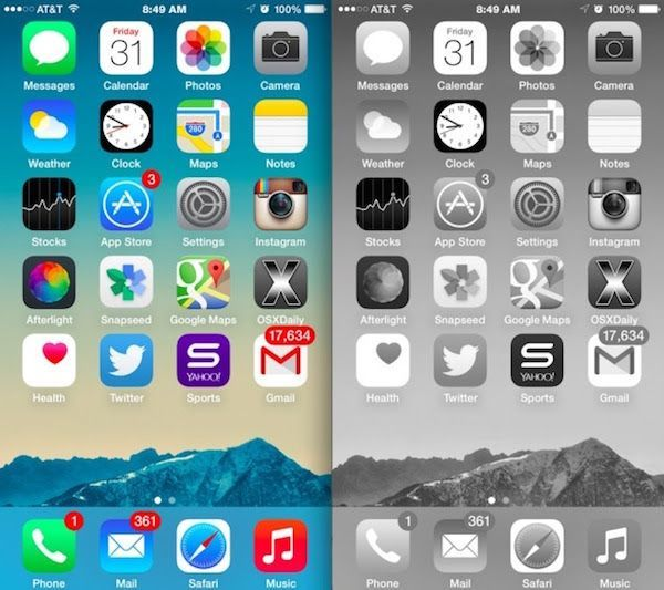 Greyscale vs Color iPhone Homescreen Comparison