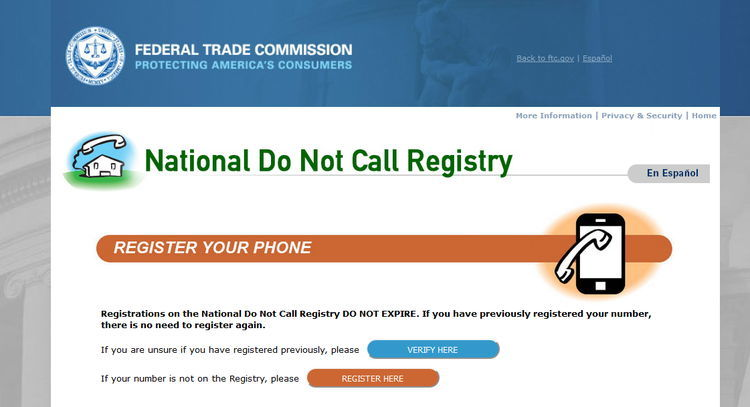 FTC National Do Not Call Registry Page Screenshot