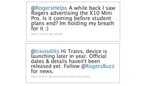 Rogers confirms XPERIA X10 Mini Pro on Twitter