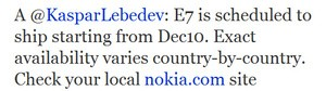 Nokia tweet on E7 shipping date
