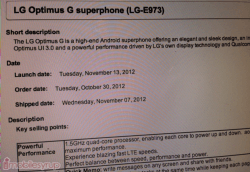 Bell to release LG Optimus G on November 13th